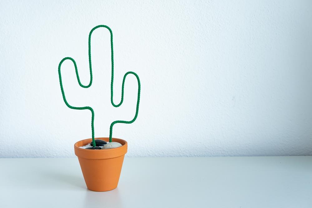 selbst gebastelter kaktus im büro